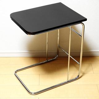 ブラックレザー風加工 サイドテーブル(ナイトテーブル) ニトリ製品
