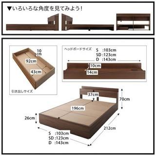 ニトリ 収納付き セミダブル ベッド(マットレスx2付き)