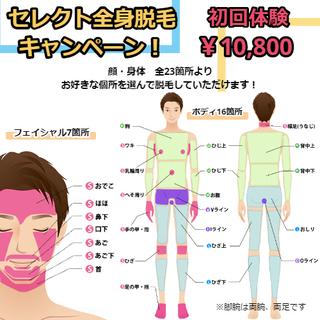 男性限定!全身脱毛し放題¥10,800キャンペーン