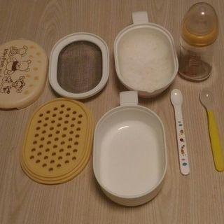 赤ちゃんお世話セット ほ乳瓶、離乳食調理器、スプーン