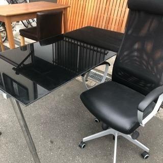 オフィスガラステーブル チェアー セット