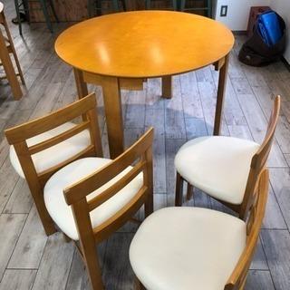 円卓 + 椅子4脚 セット カフェやオフィスにどうぞ
