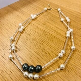 黒蝶真珠、チェコシードクリスタル2連ネックレス