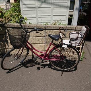 自転車 26インチ えんじ チャイルドシート付き ママチャリ