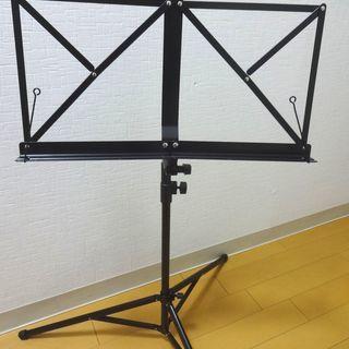 収納ケース付き 折りたたみ式譜面台 ブラック 譜面立て 楽譜 音...