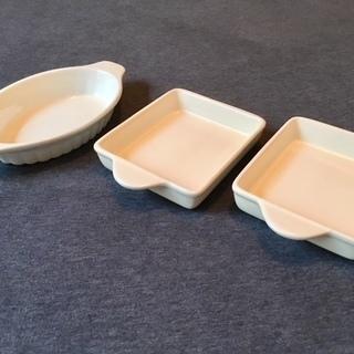 【全3品】耐熱皿セット[取手付き四角皿&オーバル皿]
