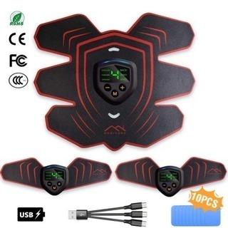 EMS腹筋ベルト LEDディスプレイ搭載 6つモード 9段階の強...
