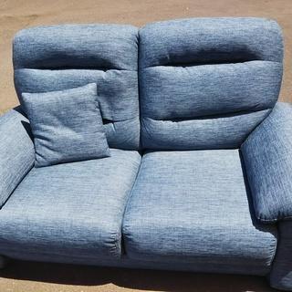 [ブルー布張りソファー]⁑リサイクルショップヘルプ