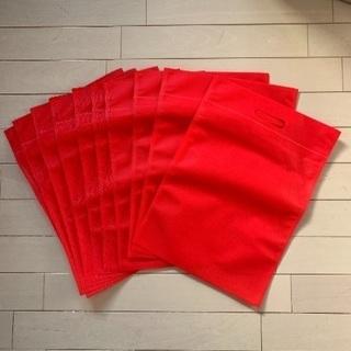 新品 不織布 バック 10枚 赤色