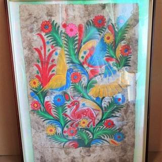 ☆特徴的な色遣いの花鳥絵画 不思議と惹きつけられる鳥と花◆インテ...