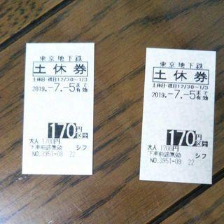 東京地下鉄メトロ切符 2枚セット