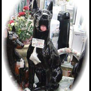 犬のオブジェ 陶器製 グレート・デーン 置物 高さ105cm 製造...