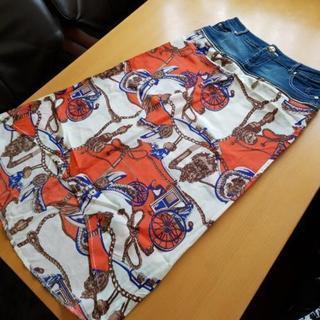 デニム&スカーフ地スカート