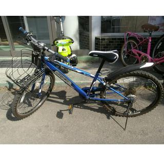 札幌 24インチ 子供用自転車 6段変速 カゴ 鍵付き 青/ブルー系