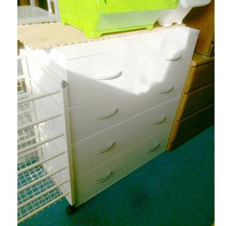 札幌 幅約80cm 4段チェスト ホワイト/白 レール式 衣類収...