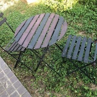 ガーデンテーブル&チェア2脚セット