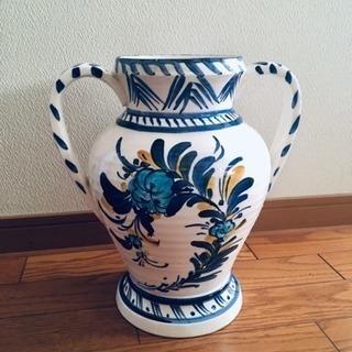 フラワーベース 大型陶器 手描き