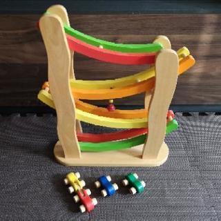 木のおもちゃピントーイ社 レインボースロープ 車のカタカタ