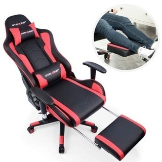 新品 送料無料 GTRACING ゲーミングチェア オフィスチェア 多機能 ゲーム用チェア リクライニング パソコンチェア ハイバック ヘッドレスト 腰痛対策 ランバーサポート ひじ掛け付き PUレザー (GT909ブルー) (GT890J-RED) - 家具