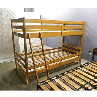 札幌【パイン材使用 カントリー調二段ベッド】シングルベッド×2 木...