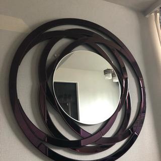 壁掛け 鏡 ミラー ブラウン