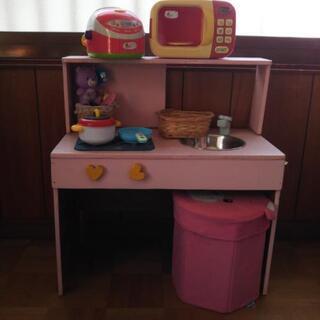 ハンドメイド キッチン セット おままごと☆ 食器 食材付き