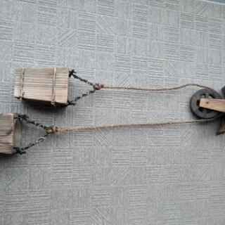 アンティーク 屋根と滑車つき 小道具 骨董