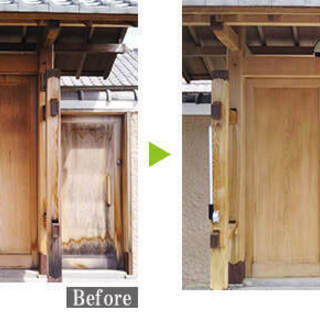 木部のカビ・日焼け・汚れを傷つけることなくキレイに除去し、木部の劣化を保護します! - 名古屋市
