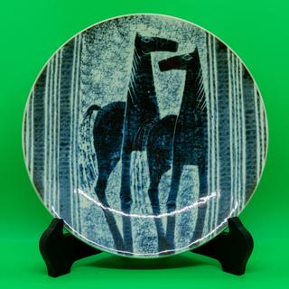 砥部焼 梅山窯 飾り皿 皿立て付き
