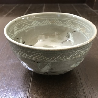 抹茶茶碗 青磁雲鶴 妙見【新品未使用】