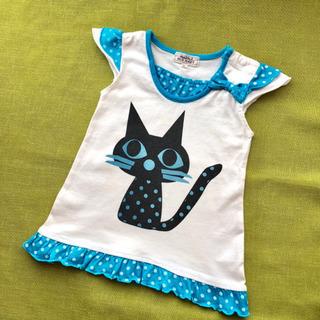 半袖 チュニック 90 猫 1歳 2歳 カットソー ネコ ねこ cat