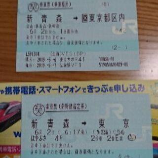 6月2日(日)新幹線切符(片道)