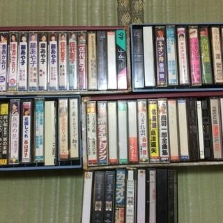 演歌歌手のカラオケ用カセットテープ 62本と歌詩書