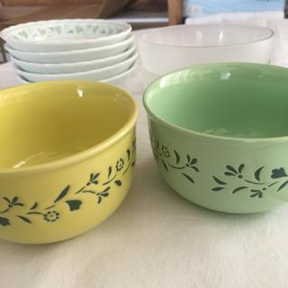 【中古】食器取皿セット★深皿2、取皿4、ガラス取皿2