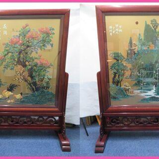美品の中国美術品 衝立屏風 玉石 山水画 花 をお値打ち価格でお...