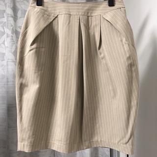 【未使用】ベージュ ストライプ タイト スカート スーツ