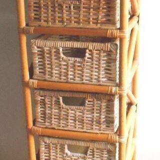 ● 籐 8段ボックス リビング、子供部屋、洗面所、納戸など小物入れ...