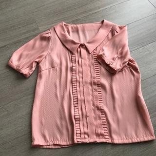 【美品】ピンク ナイロン ブラウス