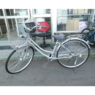 札幌 【超美品!】 27インチ ママチャリ 自転車 6段変速 荷...