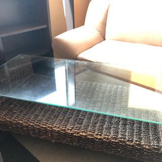 ガラストップ  アジアン風 ローテーブル※お話中