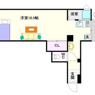 【西村ビル】1号タイプ!1Rタイプ!広い居室が魅力的☆