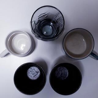 【※中古】【コップセット】取っ手付きコップ×2 焼酎グラス(黒)...