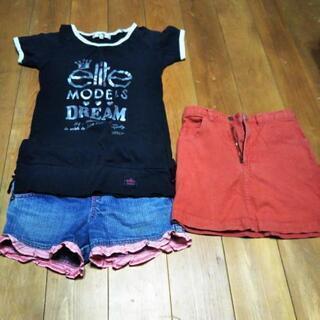 120   Tシャツ、短パン、スカート3点セット