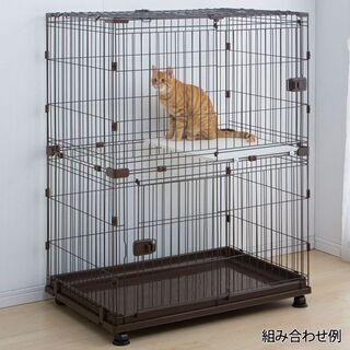 【ペット用ケージ】コンビネーションサークル2段(ブラウン)アイリ...