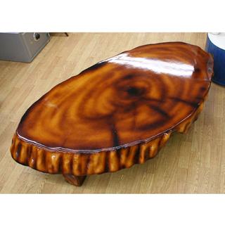 天然木 座卓 一枚板 無垢材 輪切 高樹齢 天板13cm 約62k...