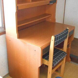 ● 学習机&椅子(ガス圧2脚キャスター付) 子供部屋 茶 ●