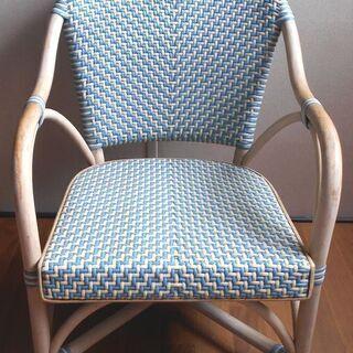● 椅子 幅広 アイボリー×ブルー ●