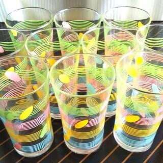 パステルカラーのガラスのコップ10客と竹製コースター10客のセット