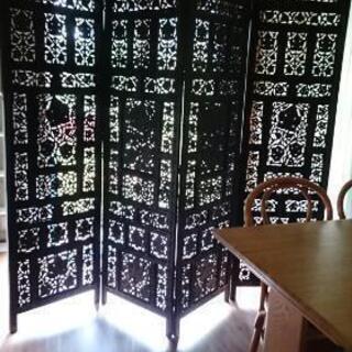 高級木製無垢衝立ヴィンテージ家具