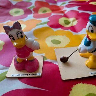 ドナルド&デイジー 陶器置物 2体セット ディズニーランド土産 美品!
